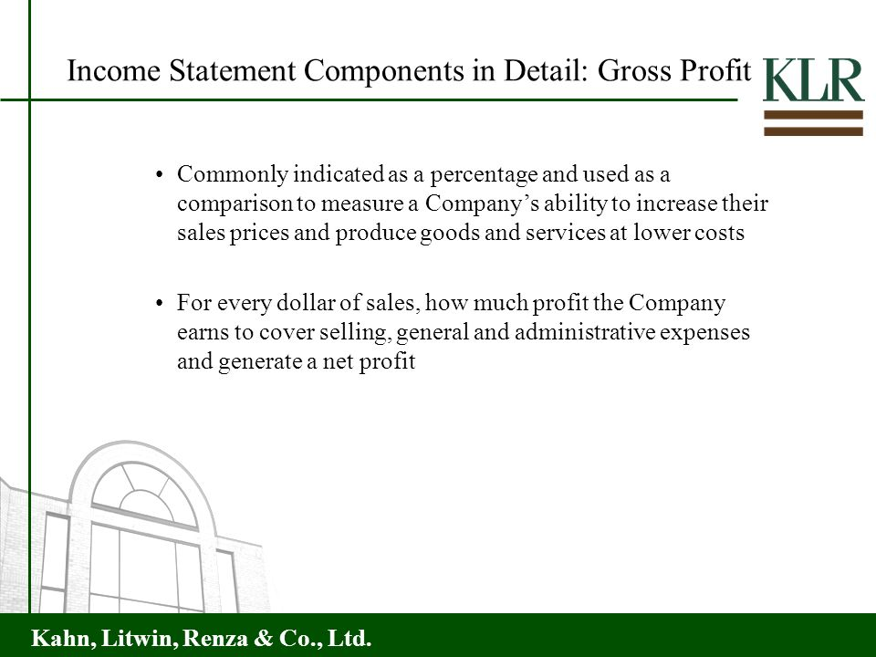 Income Statement Components in Detail: Gross Profit