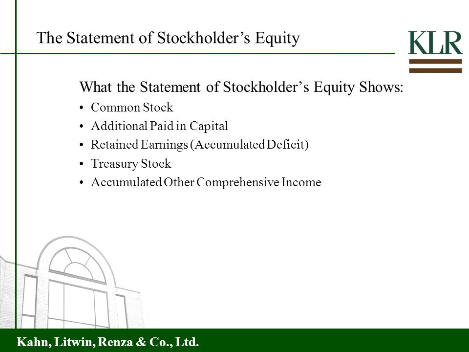 The Statement of Stockholder's Equity