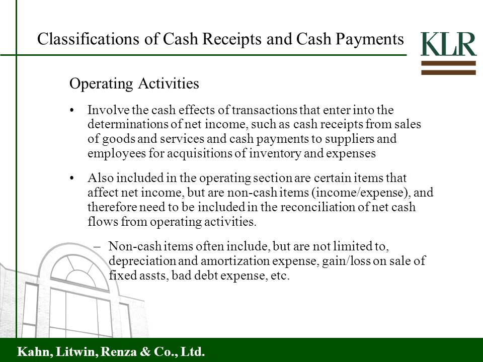 Classifications of Cash Receipts and Cash Payments