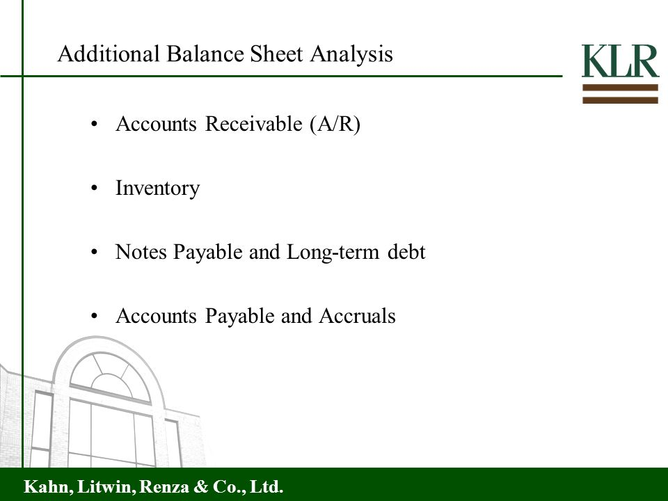 Additional Balance Sheet Analysis