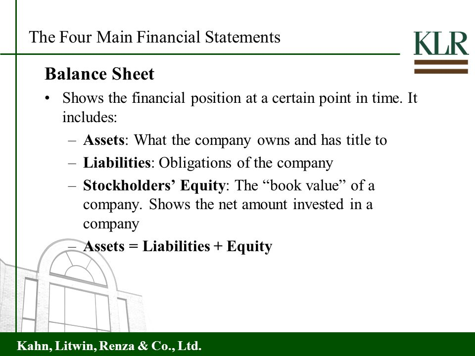 Balance Sheet The Four Main Financial Statements