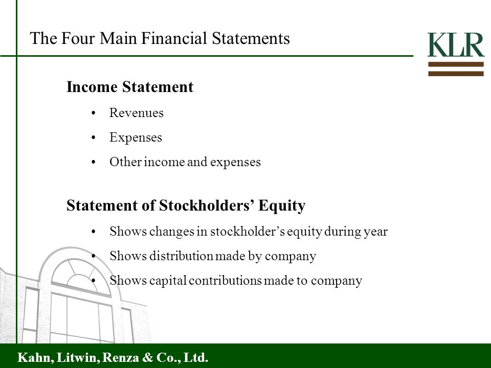 The Four Main Financial Statements