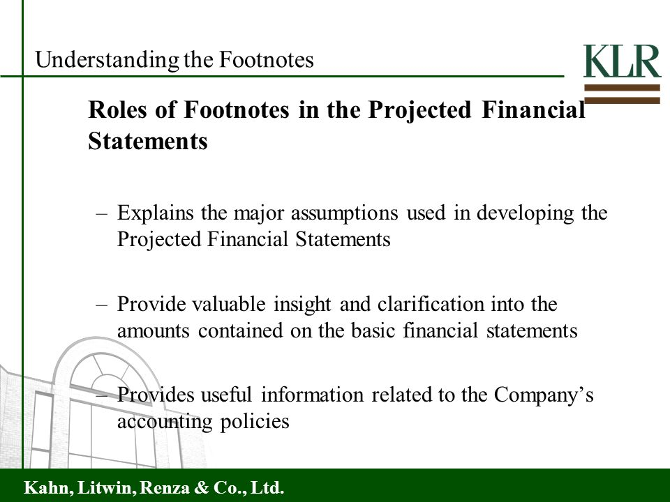 Understanding the Footnotes