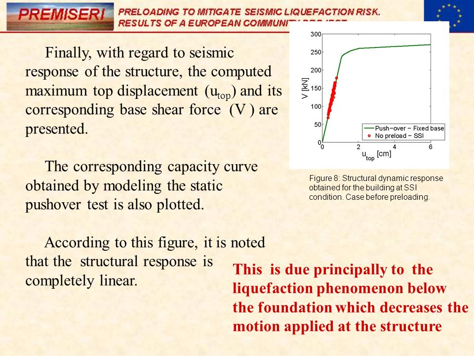 Finally, with regard to seismic response of the structure, the computed maximum top displacement (utop) and its corresponding base shear force (V ) are presented.