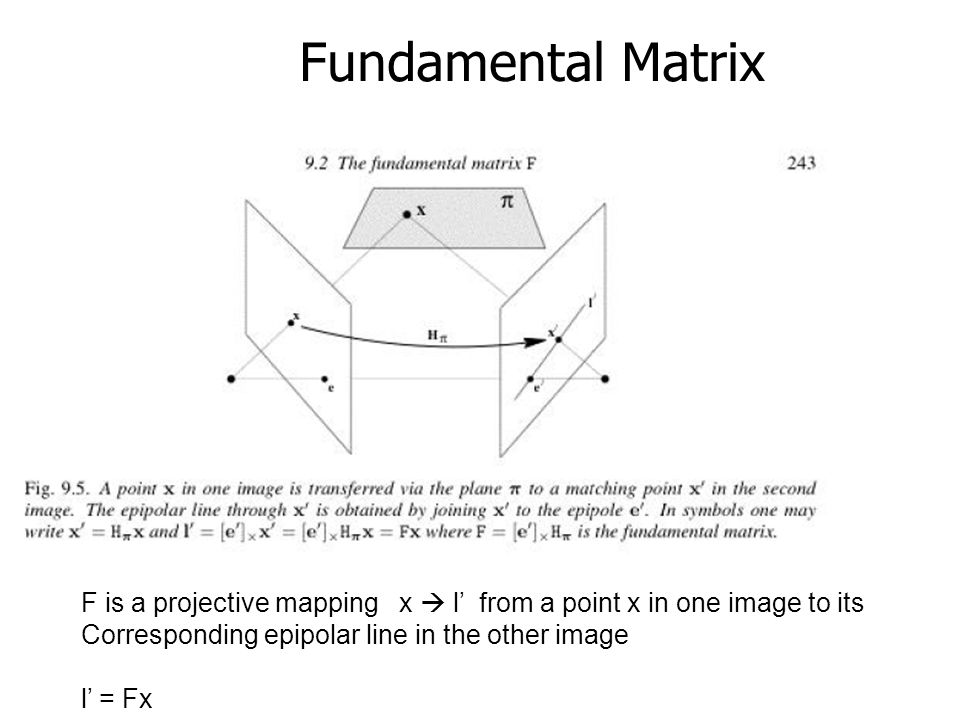 Fundamental Matrix F is a projective mapping x  l' from a point x in one image to its. Corresponding epipolar line in the other image.