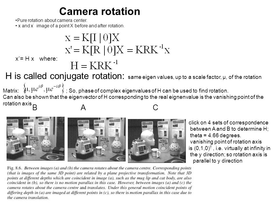 Camera rotation x'= H x where:
