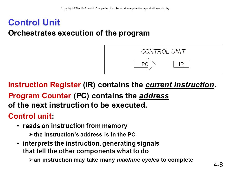 Control Unit Orchestrates execution of the program