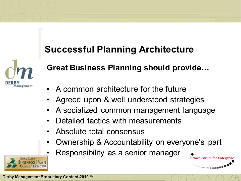 Successful Planning Architecture