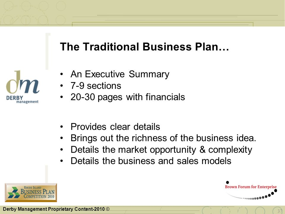 The Traditional Business Plan…