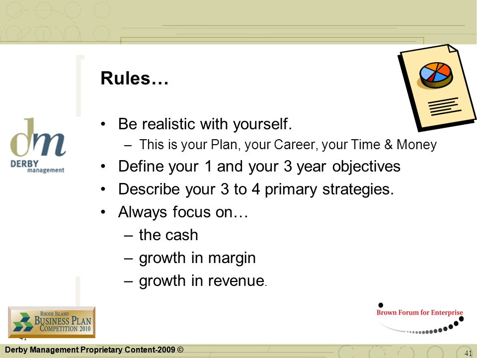 Rules… Be realistic with yourself.