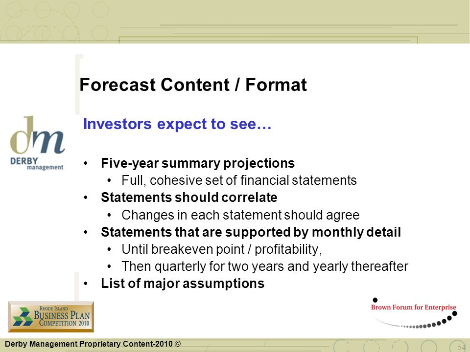 Forecast Content / Format