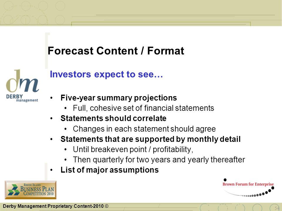 Forecast Content / Format