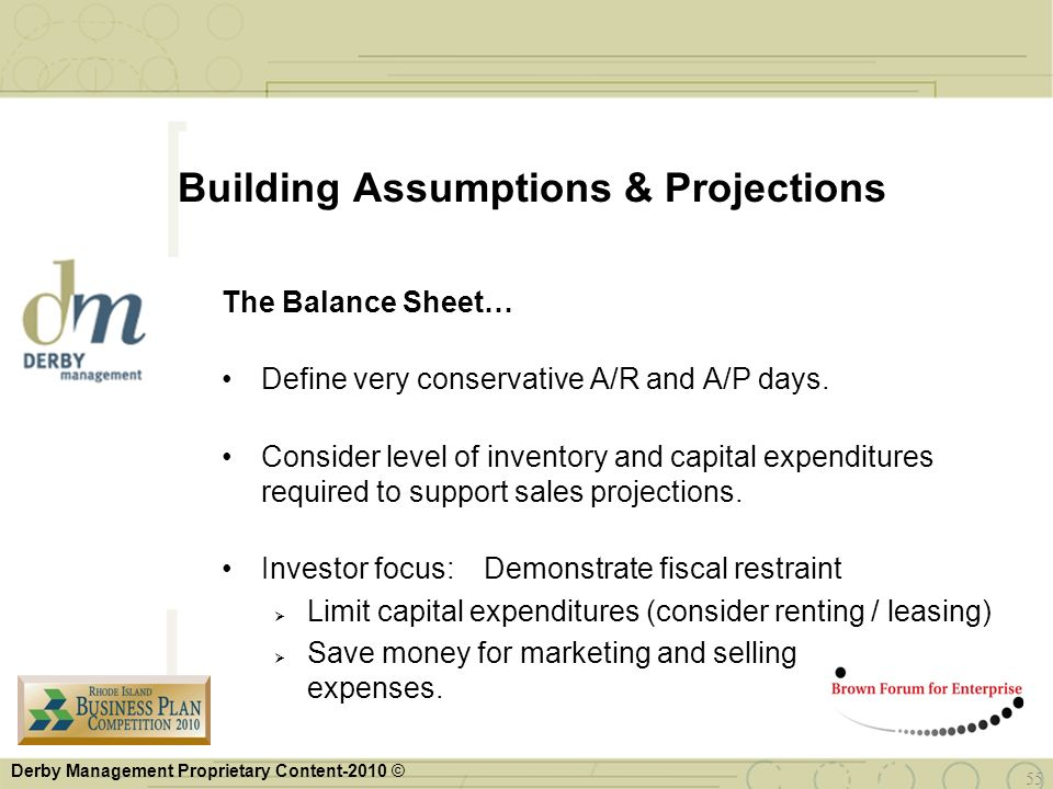 Building Assumptions & Projections