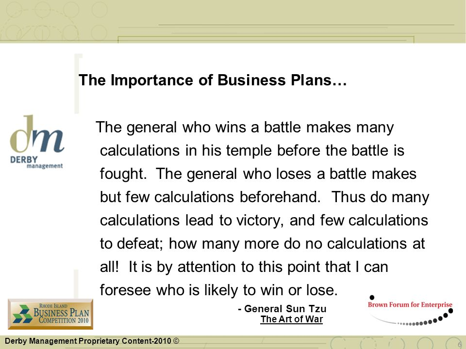 The Importance of Business Plans…