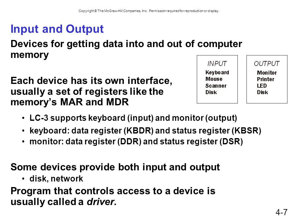 Input and Output Devices for getting data into and out of computer memory.