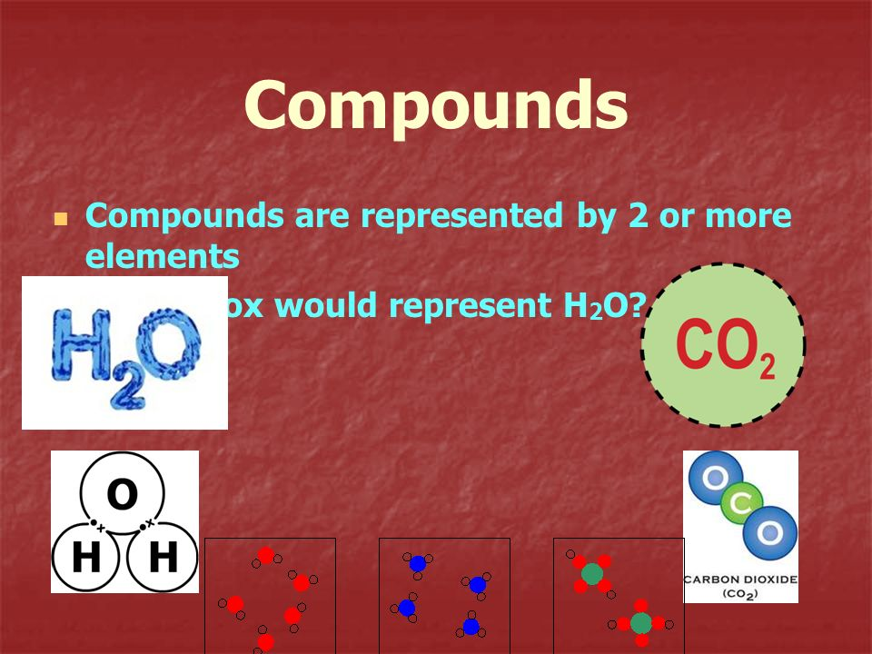 Compounds Compounds are represented by 2 or more elements