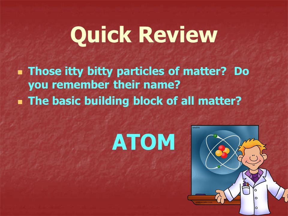Quick Review Those itty bitty particles of matter Do you remember their name The basic building block of all matter