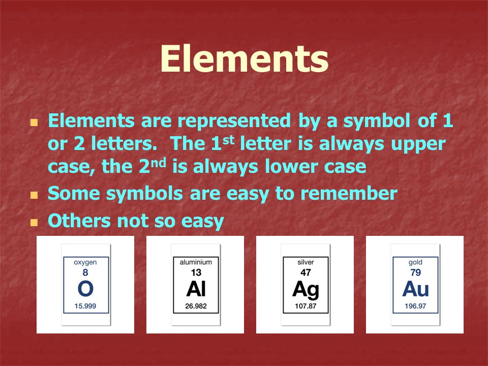 Elements Elements are represented by a symbol of 1 or 2 letters. The 1st letter is always upper case, the 2nd is always lower case.