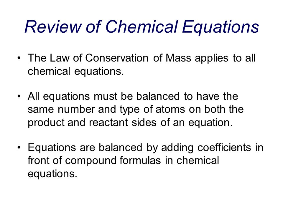 Review of Chemical Equations