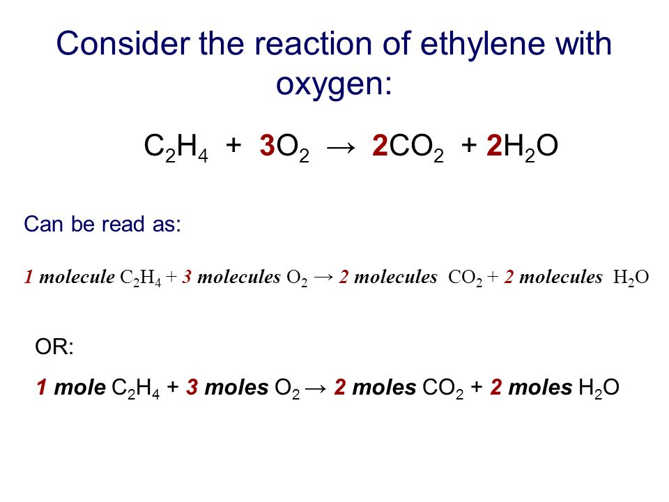 Consider the reaction of ethylene with oxygen: