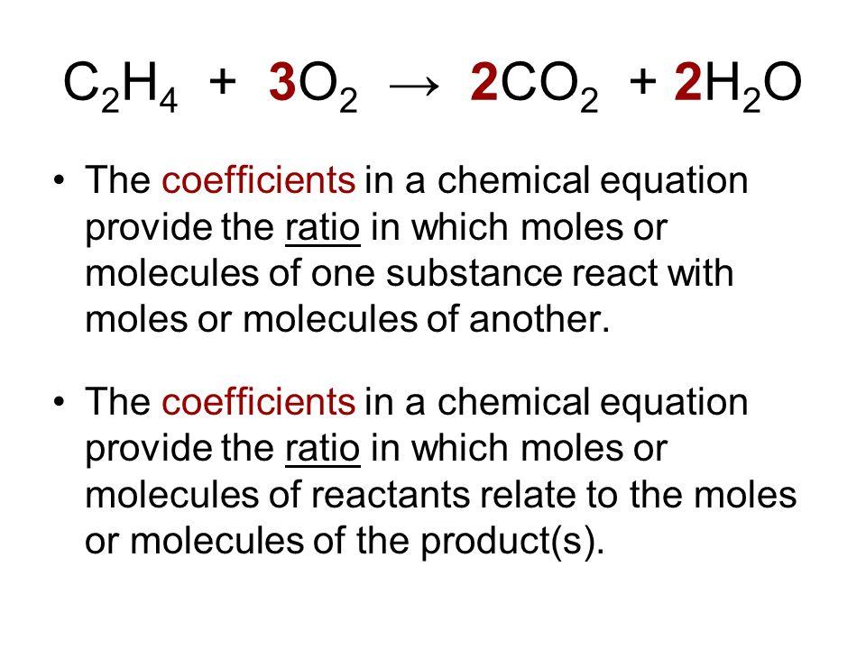 C2H4 + 3O2 → 2CO2 + 2H2O
