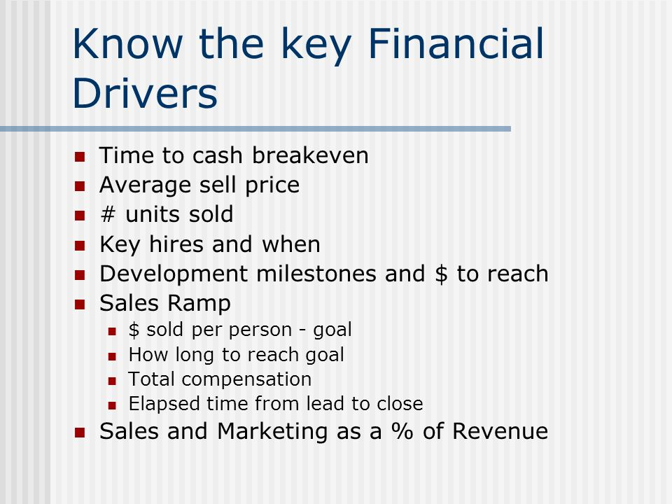 Know the key Financial Drivers