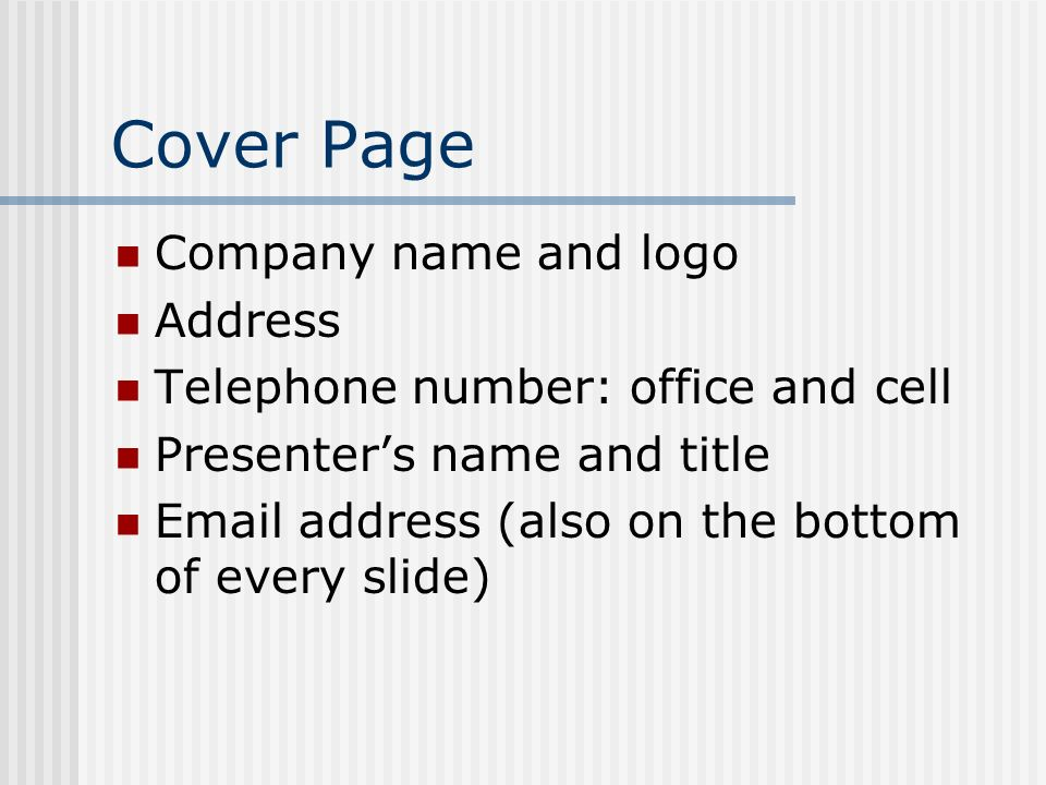 Cover Page Company name and logo Address