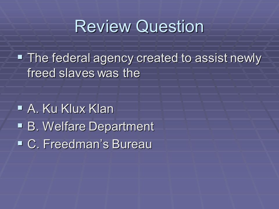 Review Question The federal agency created to assist newly freed slaves was the. A. Ku Klux Klan. B. Welfare Department.