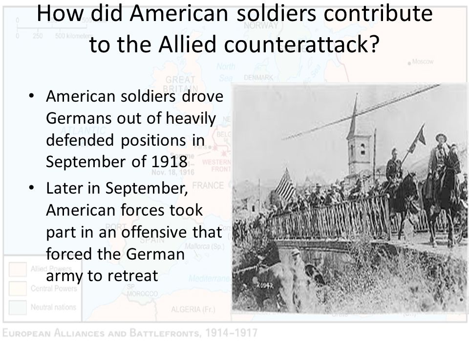 How did American soldiers contribute to the Allied counterattack
