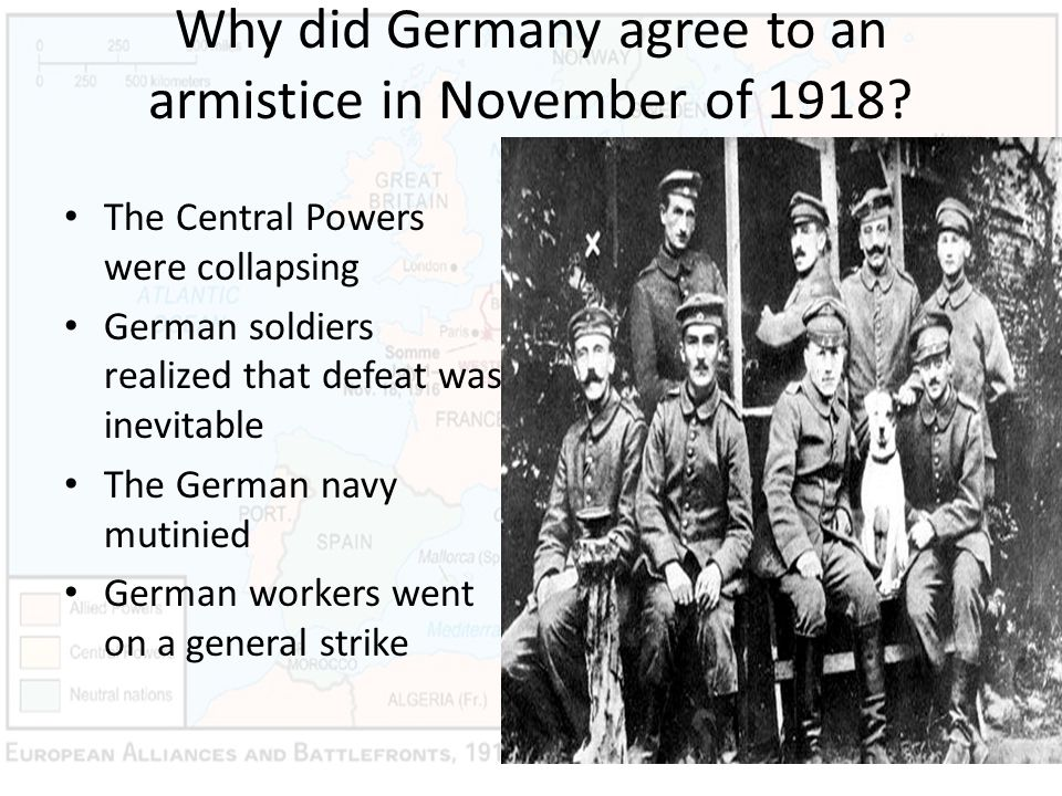 Why did Germany agree to an armistice in November of 1918