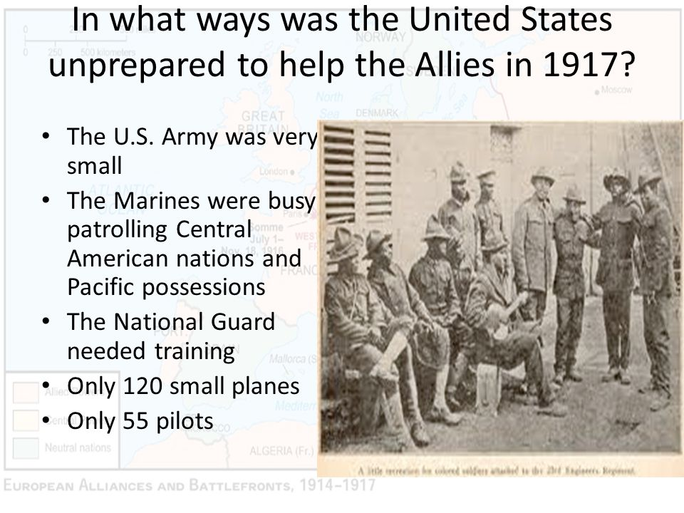 In what ways was the United States unprepared to help the Allies in 1917