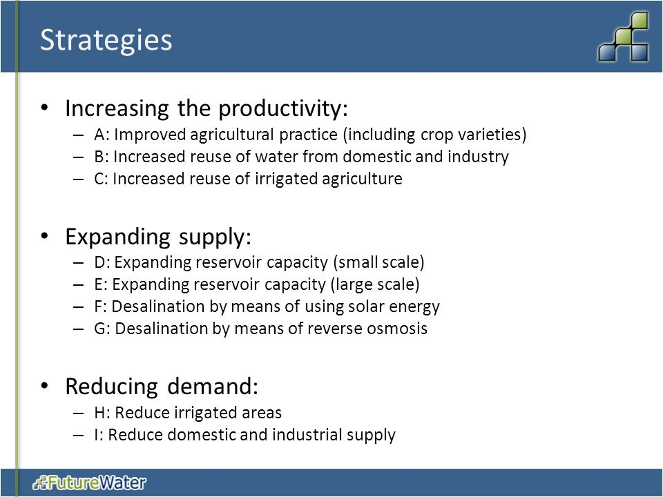 Strategies Increasing the productivity: Expanding supply: