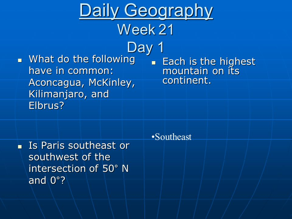 Daily Geography Week 21 Day 1