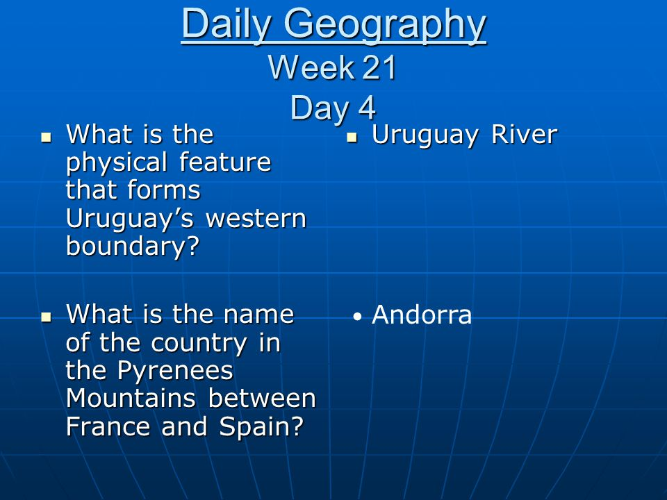 Daily Geography Week 21 Day 4