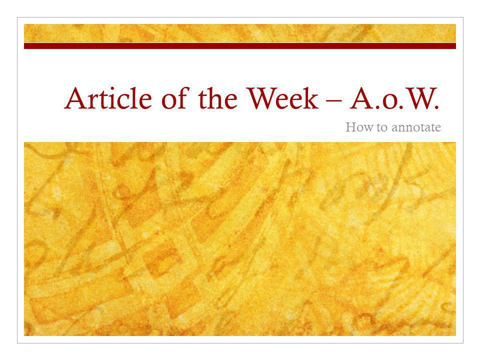 Article of the Week – A.o.W.