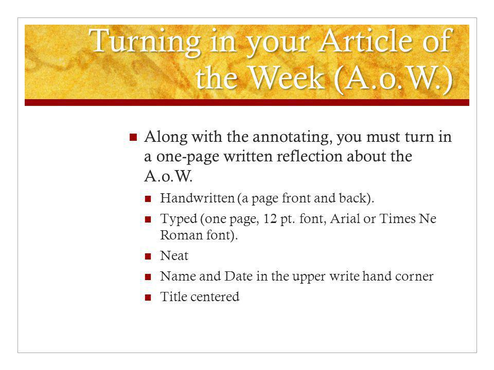 Turning in your Article of the Week (A.o.W.)