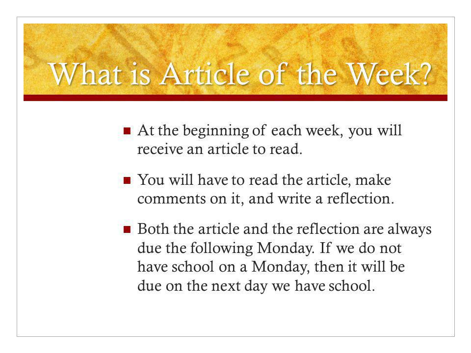 What is Article of the Week