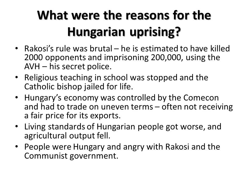 What were the reasons for the Hungarian uprising