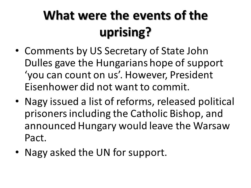 What were the events of the uprising