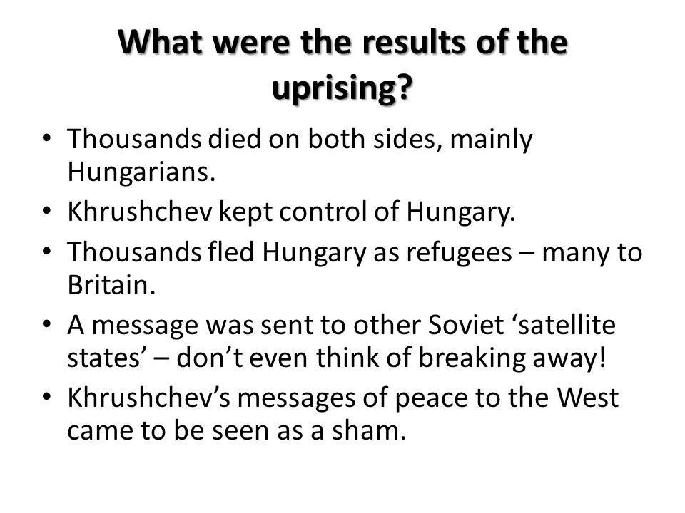 What were the results of the uprising