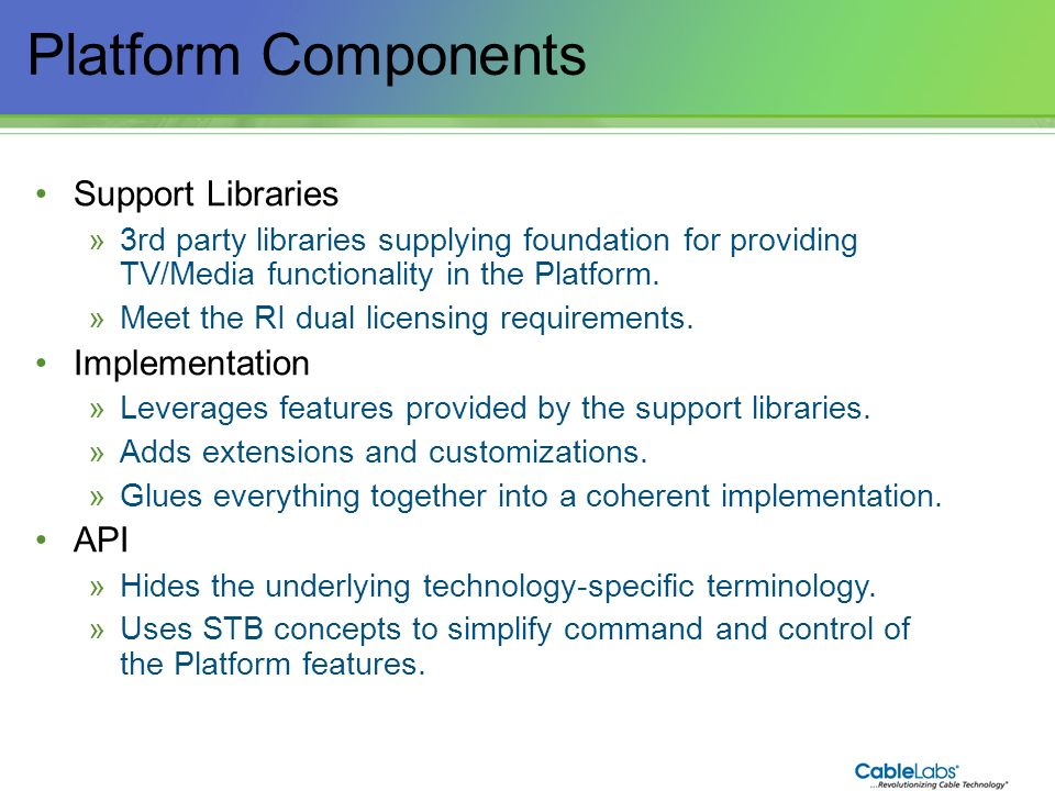 Platform Components Support Libraries Implementation API 102
