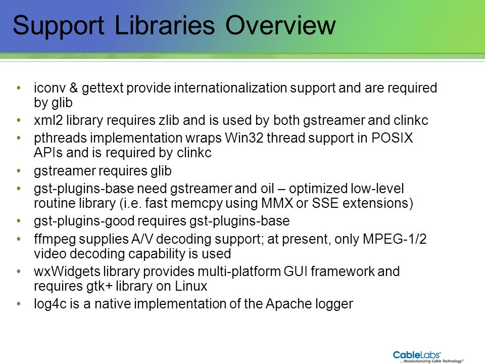 Support Libraries Overview