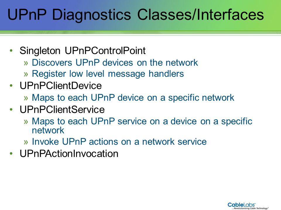UPnP Diagnostics Classes/Interfaces