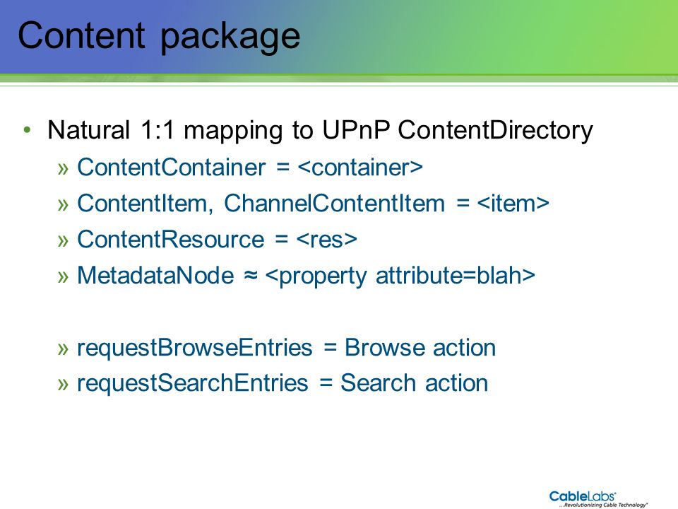 Content package Natural 1:1 mapping to UPnP ContentDirectory