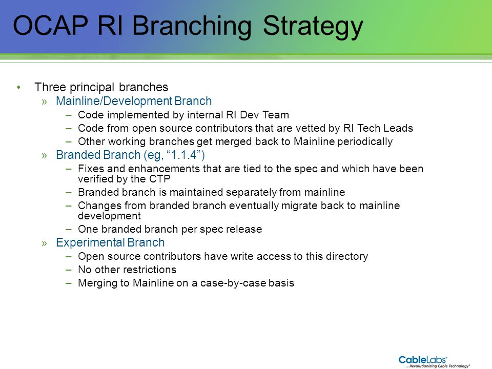 OCAP RI Branching Strategy