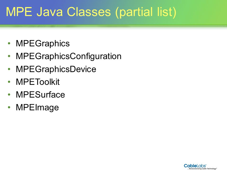 MPE Java Classes (partial list)