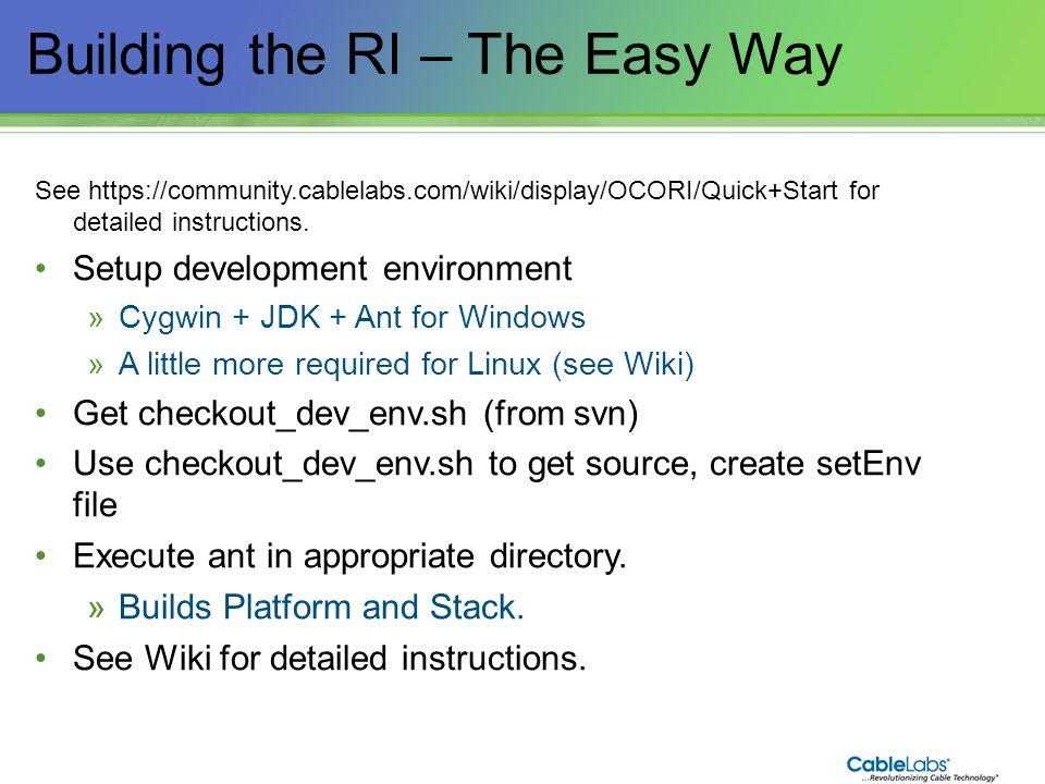 Building the RI – The Easy Way