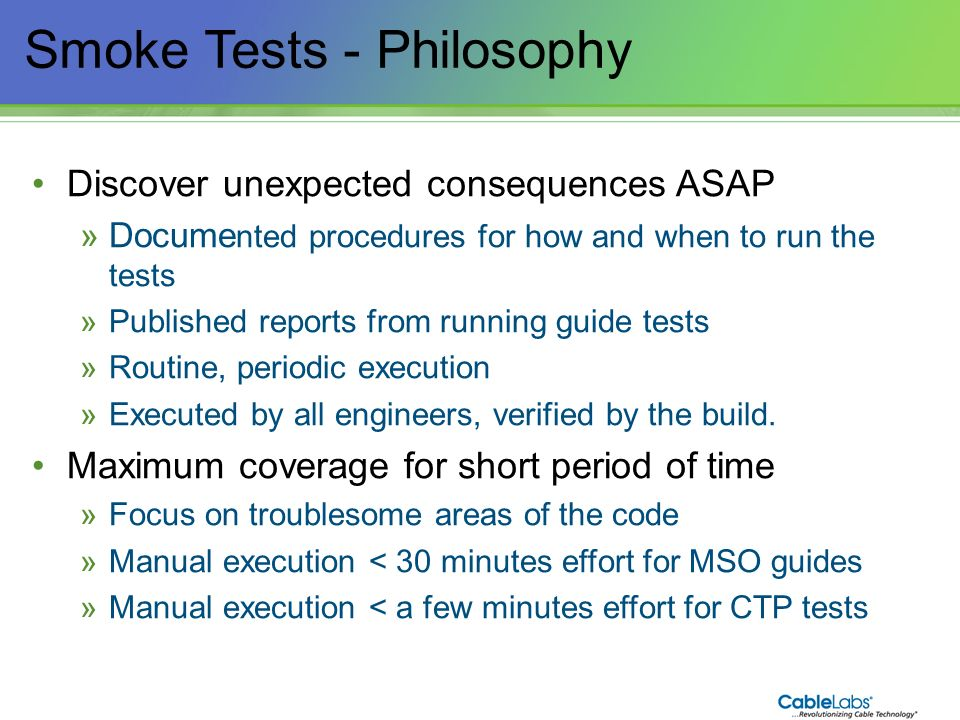 Smoke Tests - Philosophy