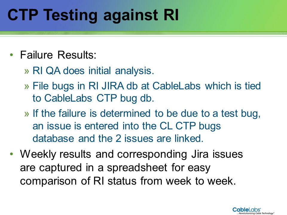 CTP Testing against RI Failure Results: