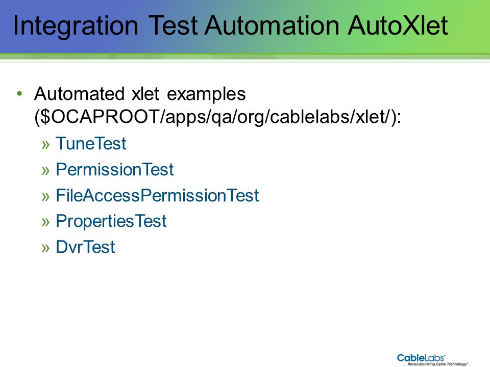 Integration Test Automation AutoXlet